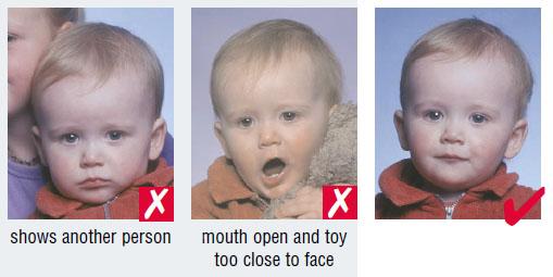 Schengen baby passport photo